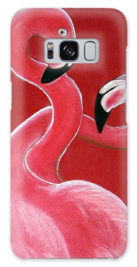 Flamingo Galaxy S8 Case featuring the pastel Flamingo Pair by Amanda Christine Shelton