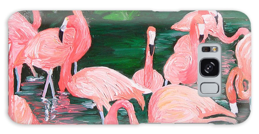 Flamingos Galaxy Case featuring the painting Flamingos by Michael Lee