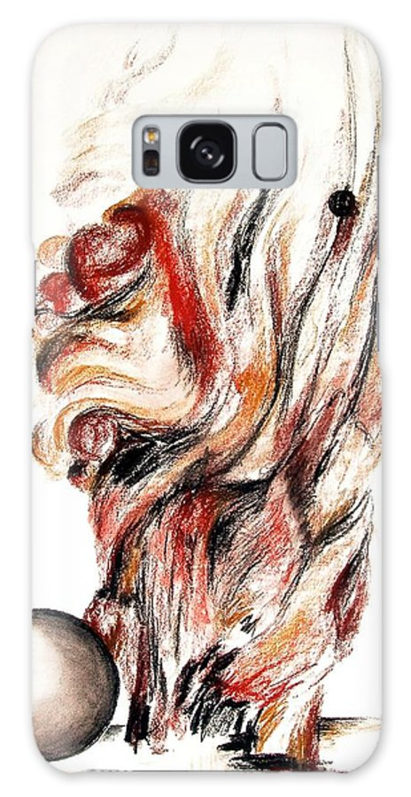 Still Life Galaxy Case featuring the drawing Flamme En Bois by Muriel Dolemieux