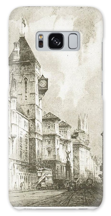 Streetscene Galaxy S8 Case featuring the drawing Fleet Street by F Hobson