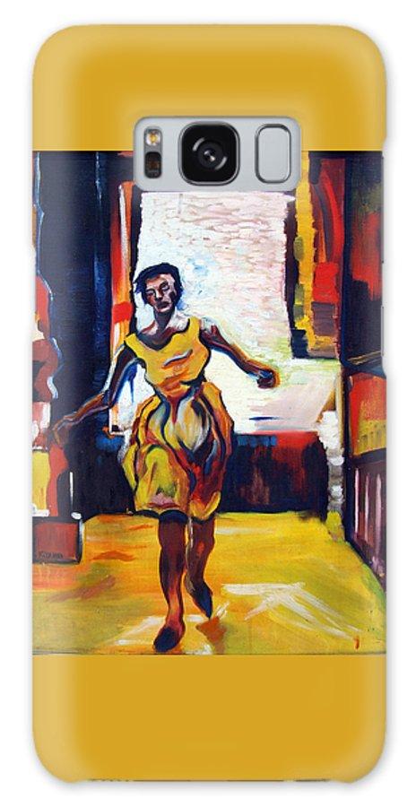 Katt Yanda Original Art Oil Painting Canvas Woman Running Fleeing Fleeting Yellow Dress Galaxy S8 Case featuring the painting Fleeting Woman by Katt Yanda