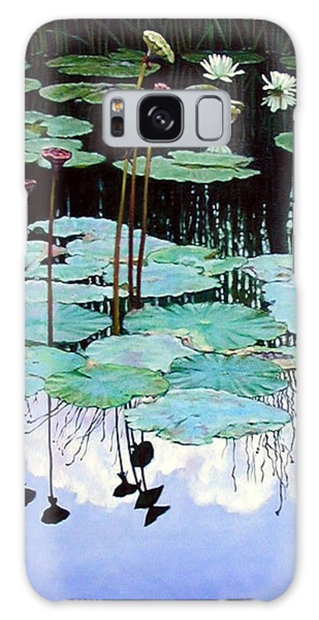Water Lilies Galaxy S8 Case featuring the painting Floating - Reflective Beauty by John Lautermilch