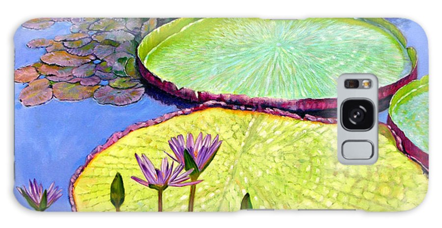Garden Pond Galaxy S8 Case featuring the painting Floating Galaxies by John Lautermilch