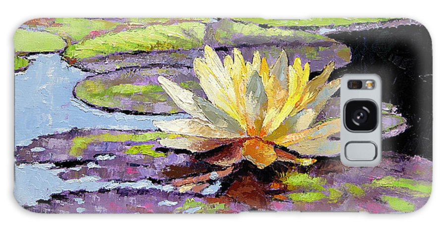 Golden Water Lily Galaxy S8 Case featuring the painting Floating Gold by John Lautermilch