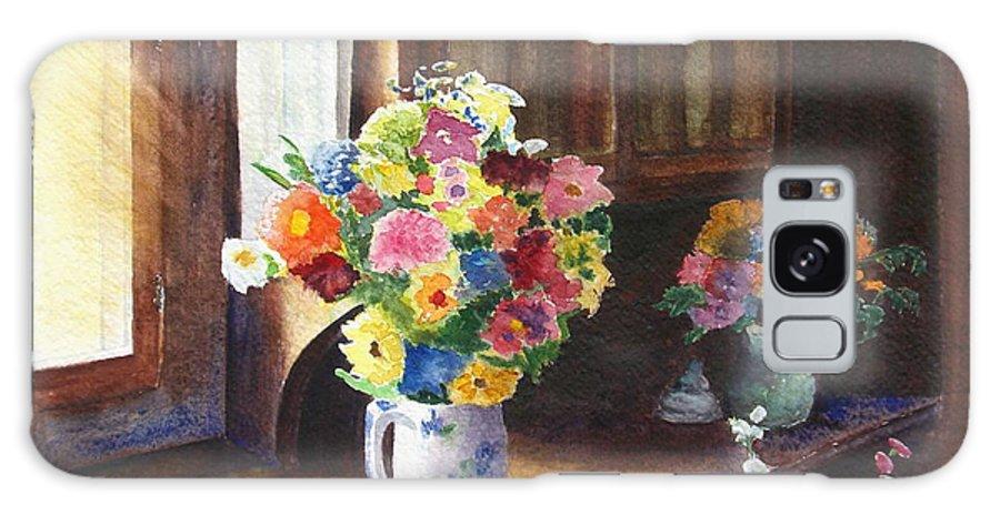 Flowers Galaxy Case featuring the painting Floral Arrangements by Karen Fleschler