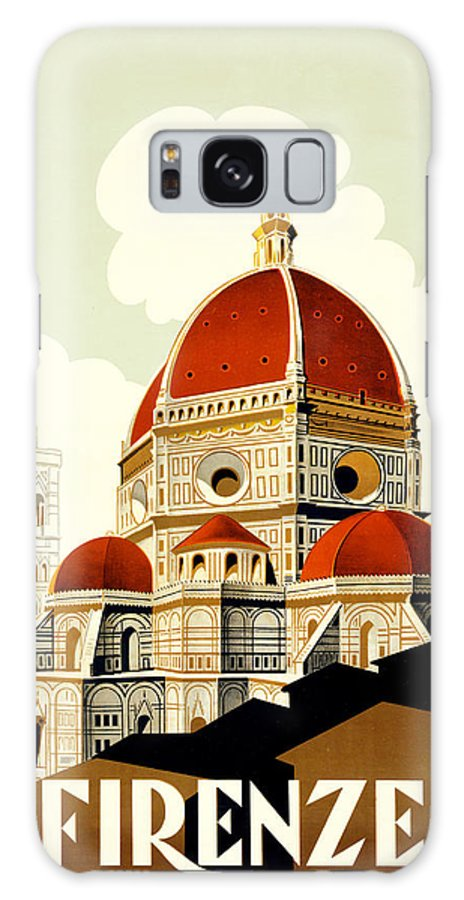 Vintage; Illustration; Lithograph; Travel; Poster; Architecture; Nobody; Dome; Florence; Duomo; Santa Maria Del Fiore; Landmark; Italian; Italy Galaxy S8 Case featuring the painting Florence Travel Poster by Italian School