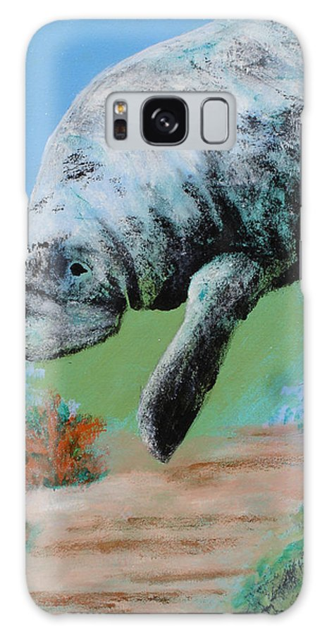 Florida Galaxy S8 Case featuring the painting Florida Manatee by Susan Kubes