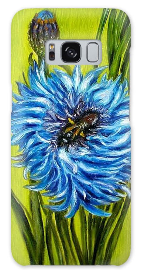 Flower Galaxy S8 Case featuring the painting Flower And Bee Oil Painting by Natalja Picugina