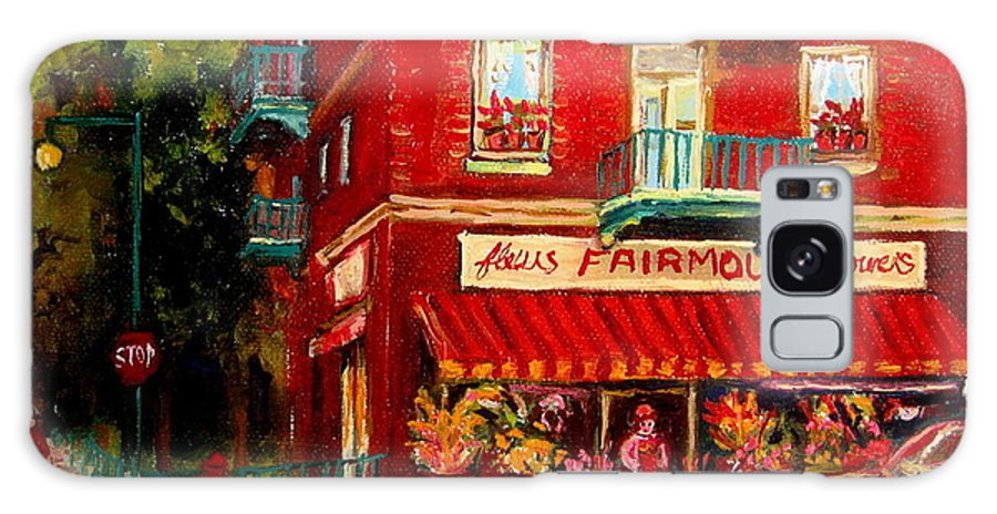 Fairmount Street Galaxy S8 Case featuring the painting Flower Shop On The Corner by Carole Spandau