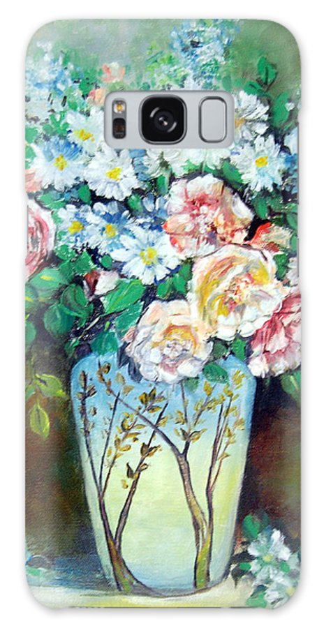 Flowers Galaxy Case featuring the painting Flower Vase by Anju Saran