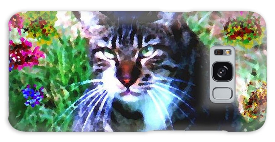 Cat Grey Attention Grass Flowers Nature Animals View Galaxy Case featuring the digital art Flowers And Cat by Dr Loifer Vladimir