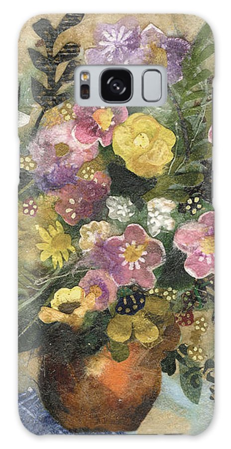 Limited Edition Prints Galaxy Case featuring the painting Flowers In A Clay Vase by Nira Schwartz