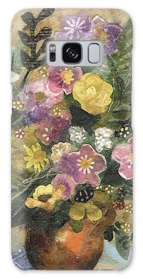 Limited Edition Prints Galaxy S8 Case featuring the painting Flowers In A Clay Vase by Nira Schwartz