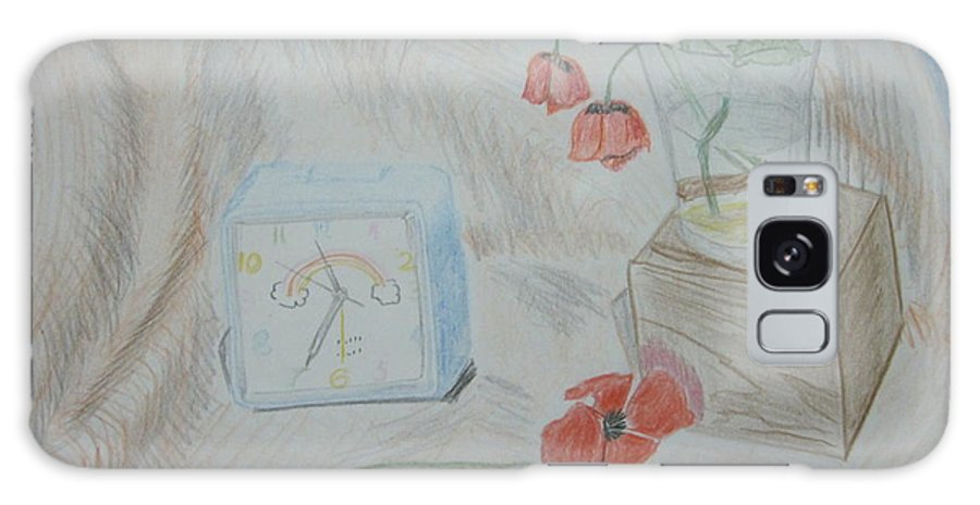 Flowers Galaxy S8 Case featuring the drawing Flowers In Glass. Color Pencils 1992 by Dr Loifer Vladimir