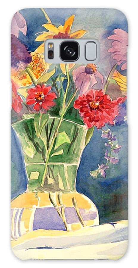 Flowers In Glass Vase Galaxy Case featuring the painting Flowers In Glass Vase by Judy Swerlick