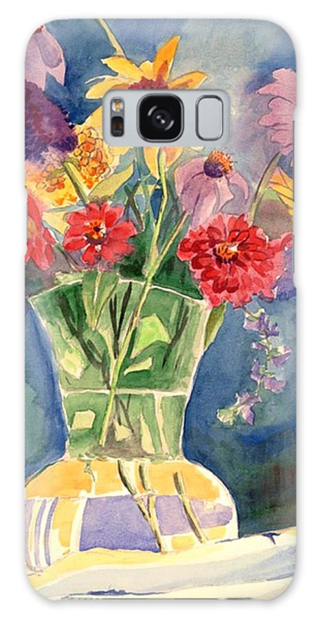 Flowers In Glass Vase Galaxy S8 Case featuring the painting Flowers in Glass Vase by Judy Swerlick