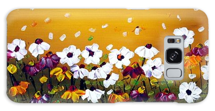 Flowers Galaxy S8 Case featuring the painting Flowers In The Sunset by Luiza Vizoli