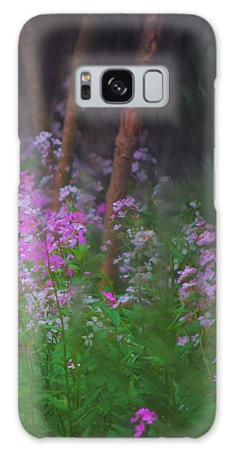 Landscape Galaxy S8 Case featuring the painting Flowers In The Woods by David Lane