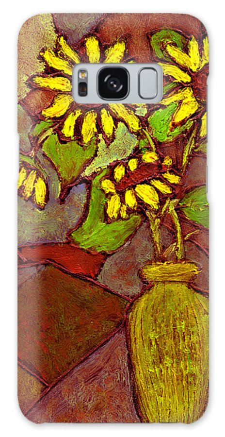 Sunflowers Galaxy S8 Case featuring the painting Flowers In Vase Altered by Wayne Potrafka