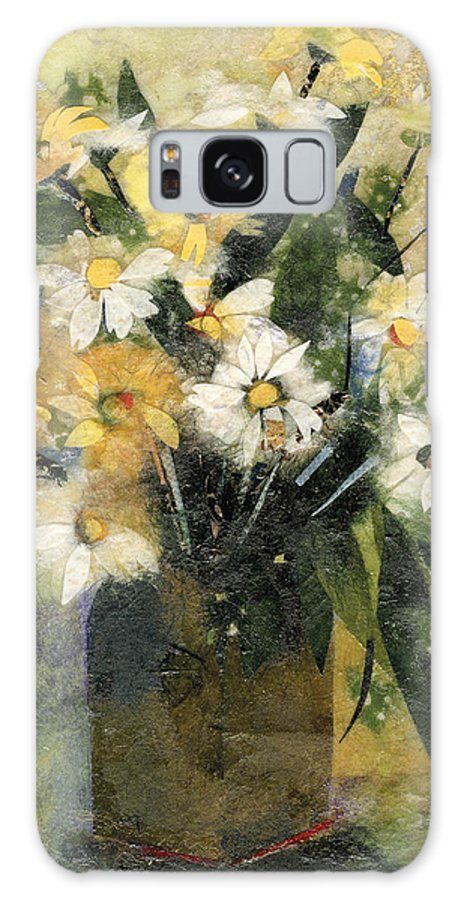 Limited Edition Prints Galaxy S8 Case featuring the painting Flowers In White And Yellow by Nira Schwartz