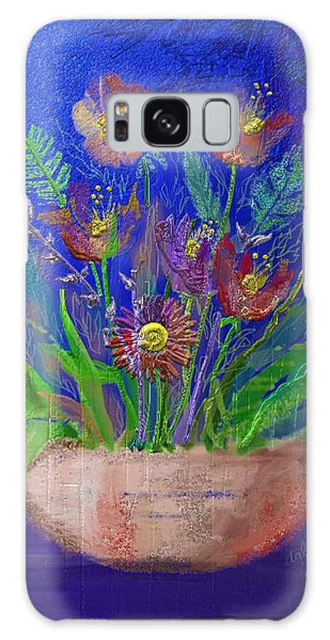 Flower Galaxy Case featuring the digital art Flowers On Blue by Arline Wagner