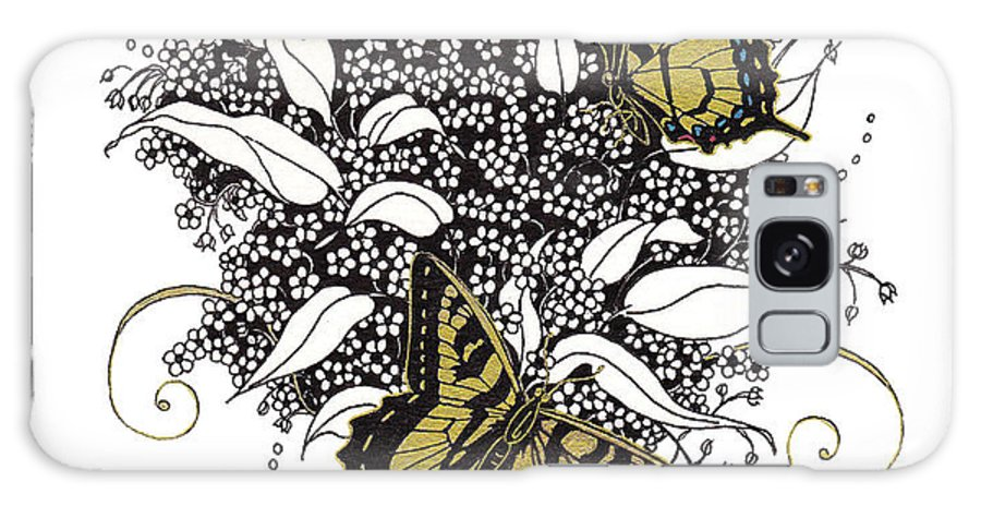 Butterflies Galaxy S8 Case featuring the drawing Flowers That Flutter by Stanza Widen