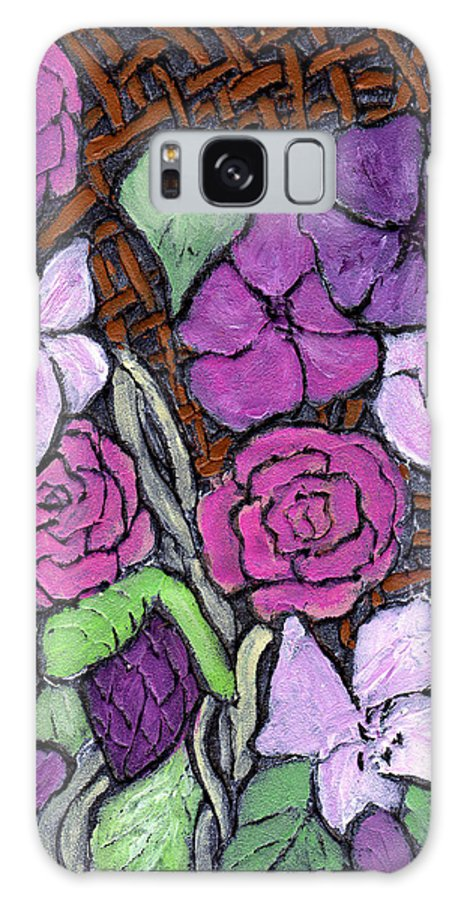 Flowers Galaxy Case featuring the painting Flowers With Basket Weave by Wayne Potrafka