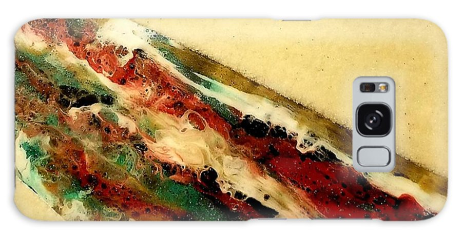 Resin. Acrylic Galaxy S8 Case featuring the mixed media Flowing Heat by Lisa Emma