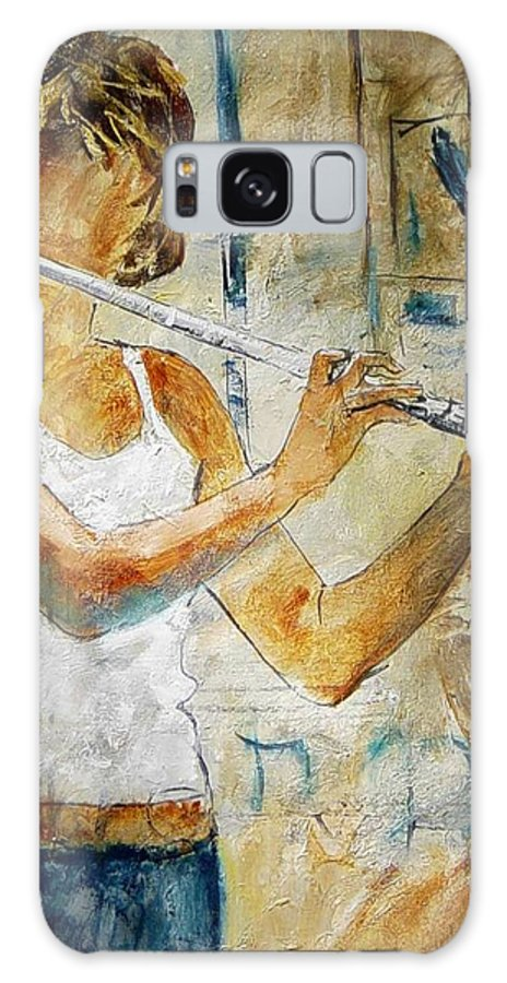 Music Galaxy Case featuring the painting Flutist by Pol Ledent
