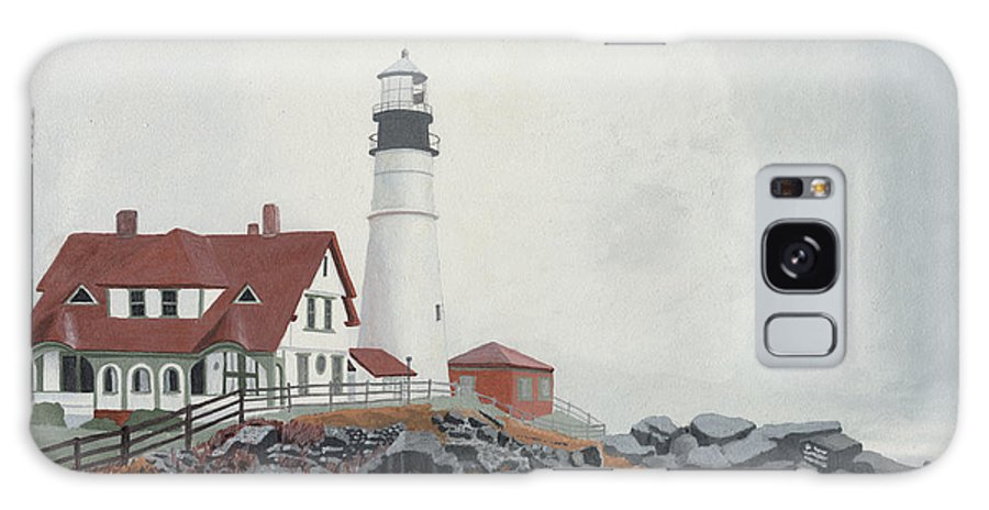 Lighthouse Galaxy Case featuring the painting Fog Approaching Portland Head Light by Dominic White