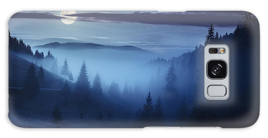 Fog Galaxy S8 Case featuring the photograph Fog Around The Mountain Top At Night by Michael Pelin