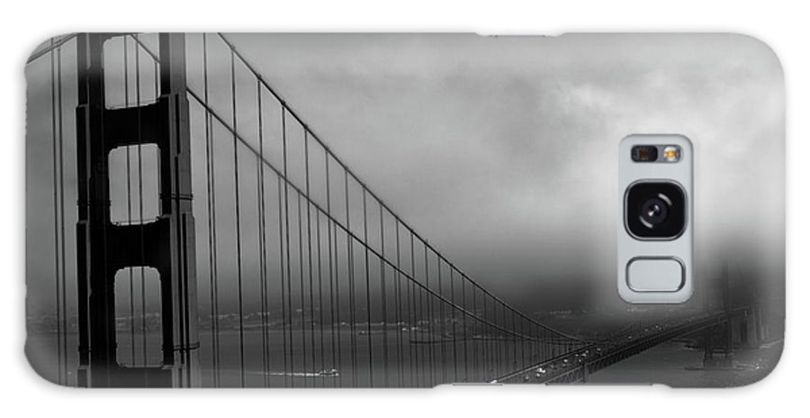Golden Gate Bridge Galaxy S8 Case featuring the photograph Foggy Golden Gate Bridge In Bw by Tommy Anderson
