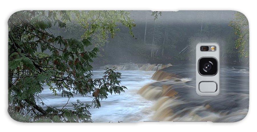 Tahquamenon Falls Galaxy S8 Case featuring the photograph Foggy Morning On Lower Tahquamenon Falls by Kathryn Lund Johnson