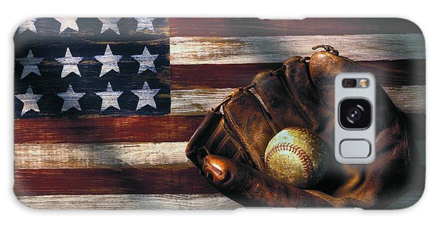 Folk Art American Flag Galaxy S8 Case featuring the photograph Folk Art American Flag And Baseball Mitt by Garry Gay