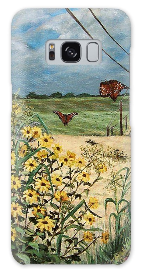 Wild Sunflowers Galaxy Case featuring the painting Follow Me by Mona Davis