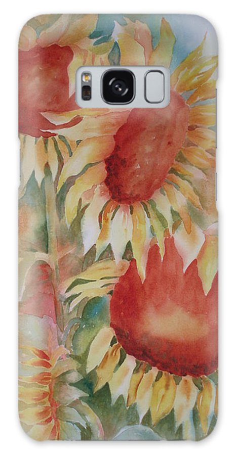 Sunflowers Galaxy S8 Case featuring the painting Follow The Sun by Tara Moorman
