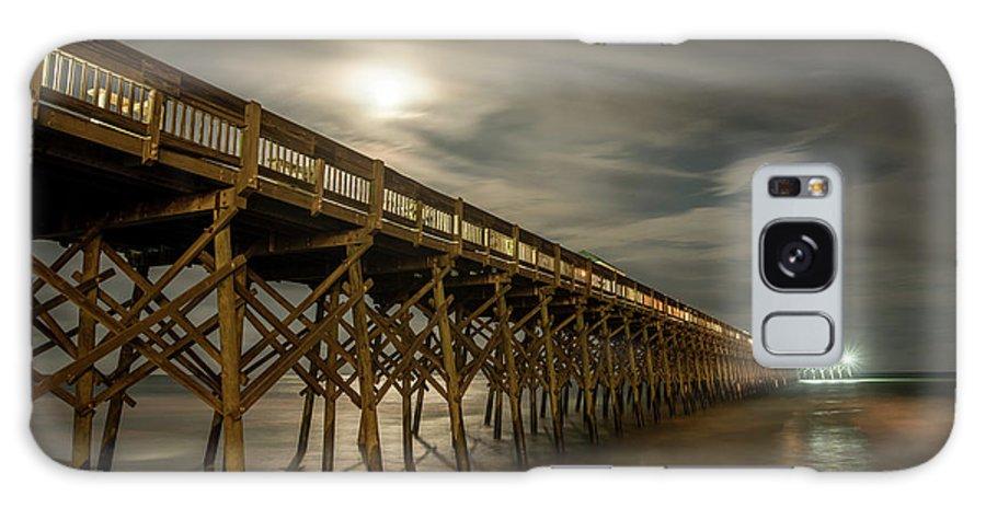 Fullmoon Galaxy S8 Case featuring the photograph Folly Beach Pier At Full Moon by Gunter Weber