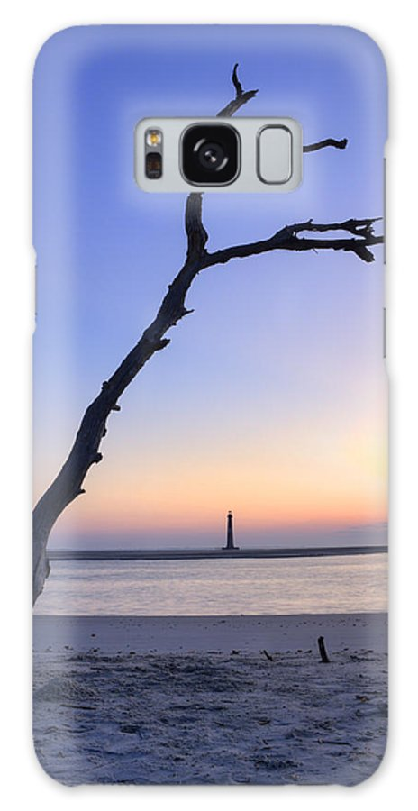 Morris Island Light House Morning Folly Beach Lowcountry South Carolina Landscape Water Beach Hdr Galaxy S8 Case featuring the photograph Folly Beach Sunrise Over Morris Island by Dustin K Ryan