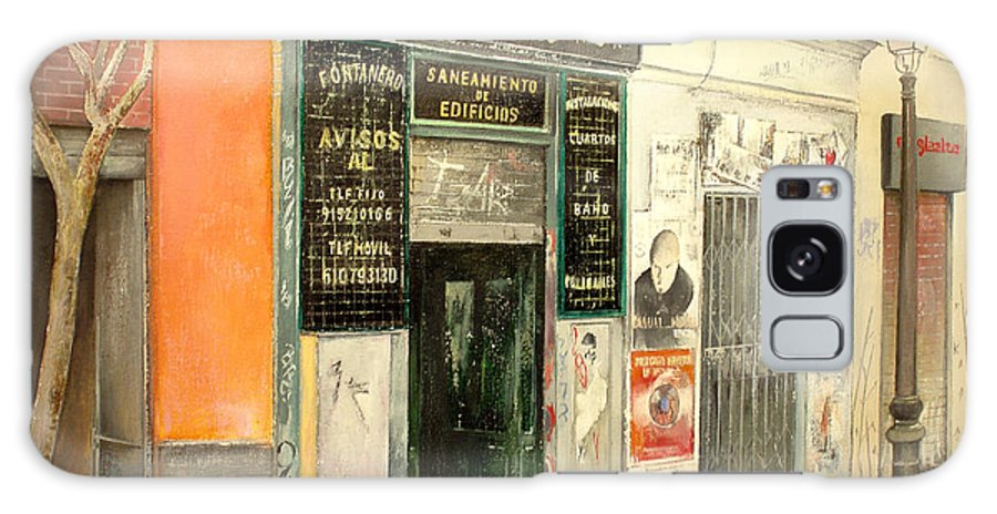Streetscene Galaxy Case featuring the painting Fontaneria E.garcia by Tomas Castano