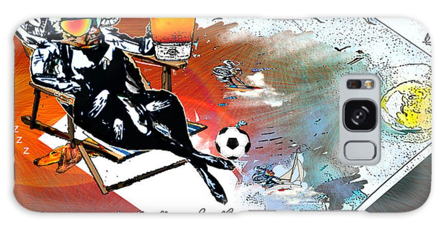 Football Calendar 2009 Derby County Football Club Artwork Miki Galaxy S8 Case featuring the painting Football Derby Rams On Holidays By The Sea by Miki De Goodaboom