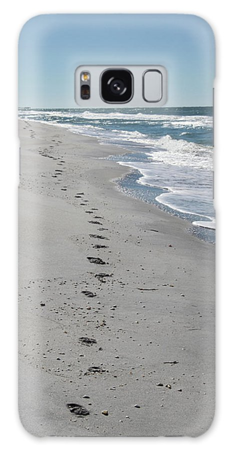Footsprints Galaxy S8 Case featuring the photograph Footsprints In The Sand by Christiane Schulze Art And Photography