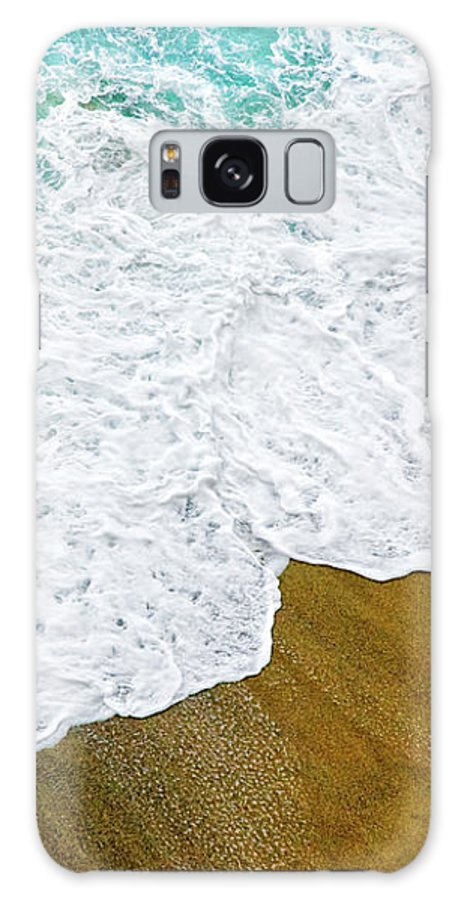 Water Galaxy S8 Case featuring the photograph Footsteps In The Sand Hopelessly Facing The Rising Tide by Silvia Ganora