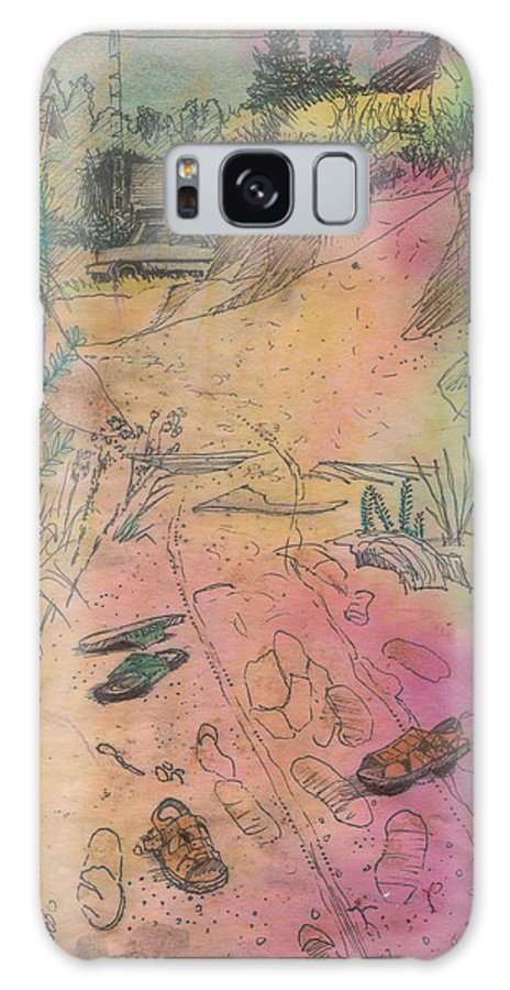 Beach Galaxy S8 Case featuring the painting Footsteps In The Sand by Nicole Shaw