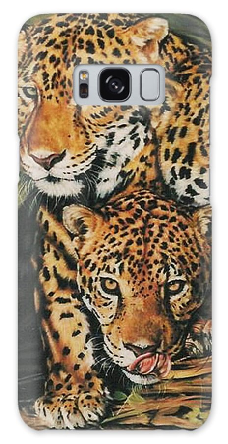 Jaguar Galaxy S8 Case featuring the pastel Forest Jewels by Barbara Keith