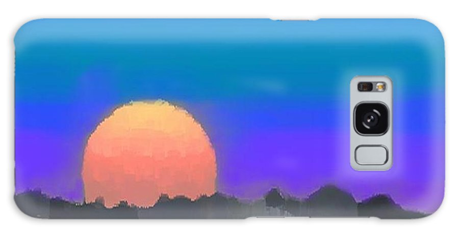 Evenung.sunset.sky.sun.background Forest.silence.rest Galaxy S8 Case featuring the digital art Forest Sunset. by Dr Loifer Vladimir
