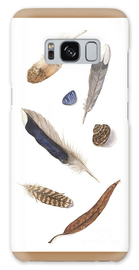 Feathers Galaxy S8 Case featuring the painting Found Treasures by Lucy Arnold