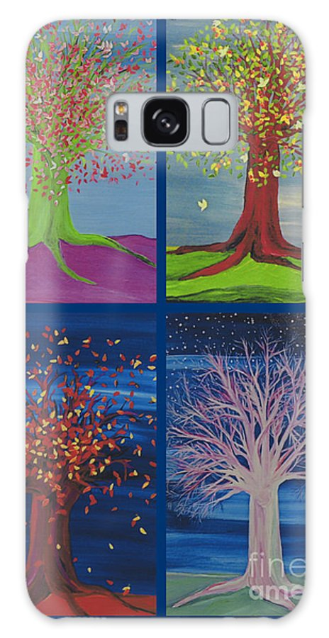 First Star Galaxy S8 Case featuring the painting Four Seasons Trees By Jrr by First Star Art