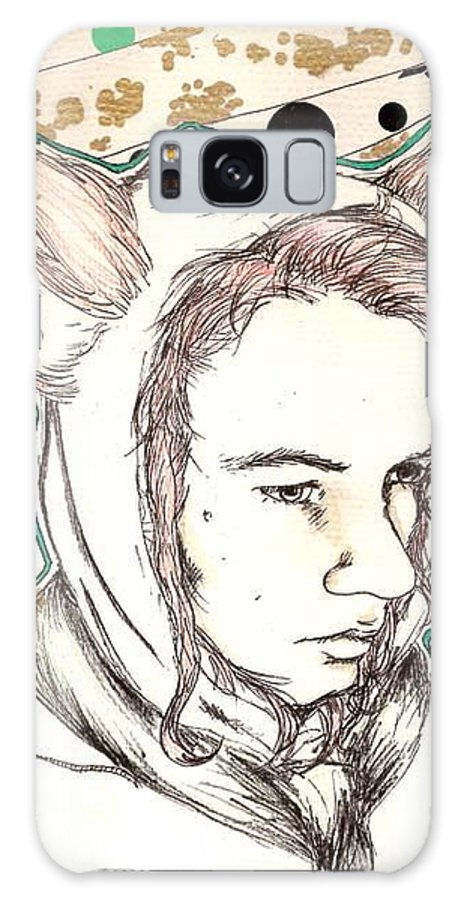 Ears Fow Star Boy Portrait Red Galaxy S8 Case featuring the drawing Fox by Freja Friborg