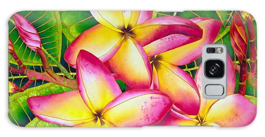 Silk Painting Galaxy Case featuring the painting Frangipani Flower by Daniel Jean-Baptiste