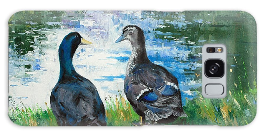 Ducks Galaxy S8 Case featuring the painting Fred And Ethel At Scott's Pond by Glenn Secrest